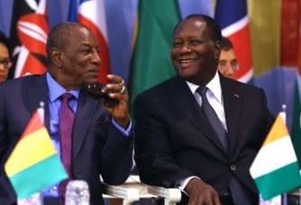 Alpha Condé et Alassane Ouatara ce vendredi à Gbéléban, pour l'inauguration d'un pont